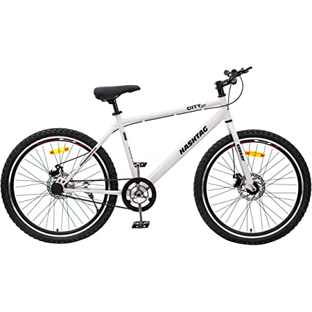 Geekay Hashtag 26 t Single Speed Steel Mountain Bicycle 26 Inch wheel   Non gear cycle for adults   18 Inch Frame Ideal for 5 feet to 5.6 feet height Road Mtb bike  No Mudguard No Bell No Water Bottle   85 % Fitted Bike   White