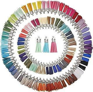 KeyZone 100 Pieces 50 Colors 40 mm Faux Suede Tassel Pendants with Caps for Key Chain Cellphone Straps DIY Accessories