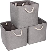 Syeeiex Large Storage Baskets for Organizing 13'' x 13'' x 13'' Cube Fabric Storage Boxes with Handles Foldable cube stora...