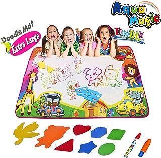 Aqua Magic mat, Water Doodle Mat Kids Toys Aqua Doodle Drawing Mat Large Water Drawing Mat Toddlers Painting Board Writing Coloring Pad with Magic Water Pens Drawing Molds for Boys Girls - 34