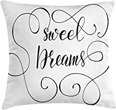 Ambesonne Saying Throw Pillow Cushion Cover, Inspirational Text with Modern Romantic Calligraphy Design and Swirls, Decorative Square Accent Pillow Case, 18