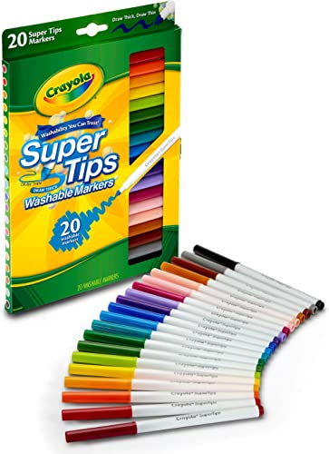 Crayola Washable SuperTips Markers, 20 Vibrant Colours, Storage Box is Deal for The Classroom or Drawing at Home. Dur...