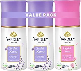 Yardley London Roll On, Anti-perspirant, floral fresh fragrance, all day sweat protection, reduce wrinkles, lighten skin t...