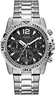 GUESS Men's Analog Quartz Watch with Stainless Steel Strap, Silver, 22 (Model: GW0056G1)