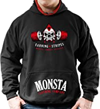 Monsta Clothing Co. Men's Workout (Embrace Pain-Earning My Stripes) Gym Hoodie