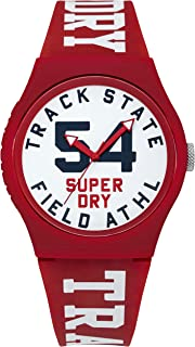 Superdry Men's QuartzUrban Track and Field Men's Analog Quartz Watch with Red Silicone Strap Analog Display and Silicone Strap, SYG182WR
