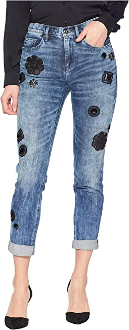 Denim Water Wash Girlfriend Jeans with Embellishment