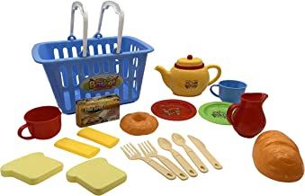 Jayde N' Grey Kid'd Pretend Play Food Toy Tea Set Kitchen Chef with Storage Grocery Basket Great for Toddlers & Birthday Gift blue na