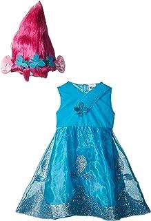 Poppy Deluxe W/Wig Trolls Costume, Blue, X-Small (3T-4T)
