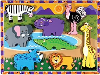 Melissa & Doug Safari Wooden Chunky Puzzle (Preschool, Chunky Wooden Pieces, Full-Color Pictures, 8 Pieces, Great Gift for Girls and Boys - Best for 2, 3, and 4 Year Olds)