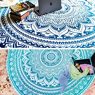 Set of 2 Ombre Mandala Round Hippie Tapestry Indian Bohemian Roundie Picnic Table Cover Hippy Spread Boho Gypsy Cotton Tab...