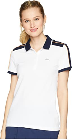 Roland Garros Stretch Mini Pique Contrast Trim Polo