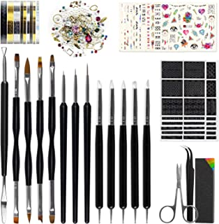 Nail Art Tools Fashion Design - 8 Size Painting Brushes, 5 Carving/Dotting Pen, 12 Style Decals/Stencils, Striping Tapes, Irregular 3D Rhinestones, Manicure Sponge Nail Art Tools Fashion Design Nail Art Tools Fashion Design