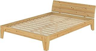 Erst-Holz Lit Adulte en pin Naturel 160x200 lit Robuste, Design Moderne, avec sommier à Lattes 60.62-16
