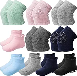 10 Pairs Baby Crawling Anti-Slip Knee Pads and Anti-Slip Baby Socks Set Unisex Toddler Knee Protectors Non Slip Ankle Sock...