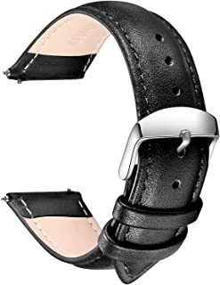 Quick Release Leather Watch Band, Full Grain Genuine Leather Replacement Watch Strap with Stainless Metal Buckle Clasp 16mm, 18mm, 20mm, 22mm, 24mm