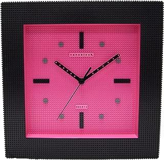 nanoblock ナノブロック デコレーション壁掛け時計 ウォールクロック インテリアクロック おまけブロック付 NAWC-96903BP ブラック×ピンク