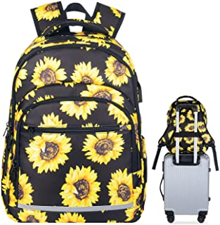 Travel Laptop Backpack, Durable Waterproof Sunflower College School Backpack with USB Charging Port for Women Girl Casual Daypack Business Computer Bag Fits 15 Inch Notebook
