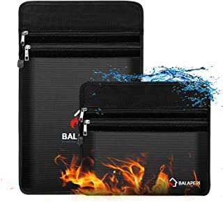 """BALAPERI Fireproof Document Bags Two Pockets,Non-Itchy Silicone Coated Waterproof Document Pouch,15""""x 11""""and 12""""x 8""""Firepr..."""
