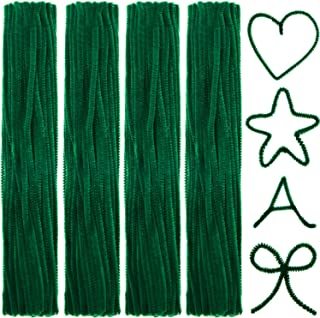 BBTO 400 Pieces Christmas Chenille Pipe Cleaners Jumbo Chenille Stem Fluffy Chenille Stem for DIY Art Craft (Green)