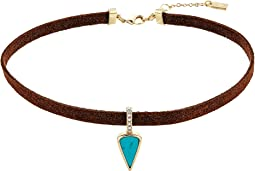 LAUREN Ralph Lauren - 13 Inches Suede with Turquoise Drop Choker Necklace