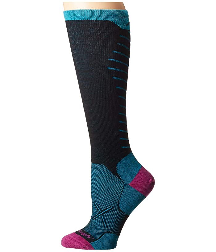 Darn Tough Vermont  Vertex Over the Calf Ultralight with Graduated Light Compression (Black) Womens Crew Cut Socks Shoes