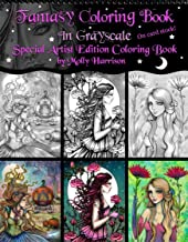Fantasy Fairy Coloring Book in Grayscale - Spiral Bound Special Artist Edition Fantasy Fairy Adult Coloring Book on Cardstock by Molly Harrison