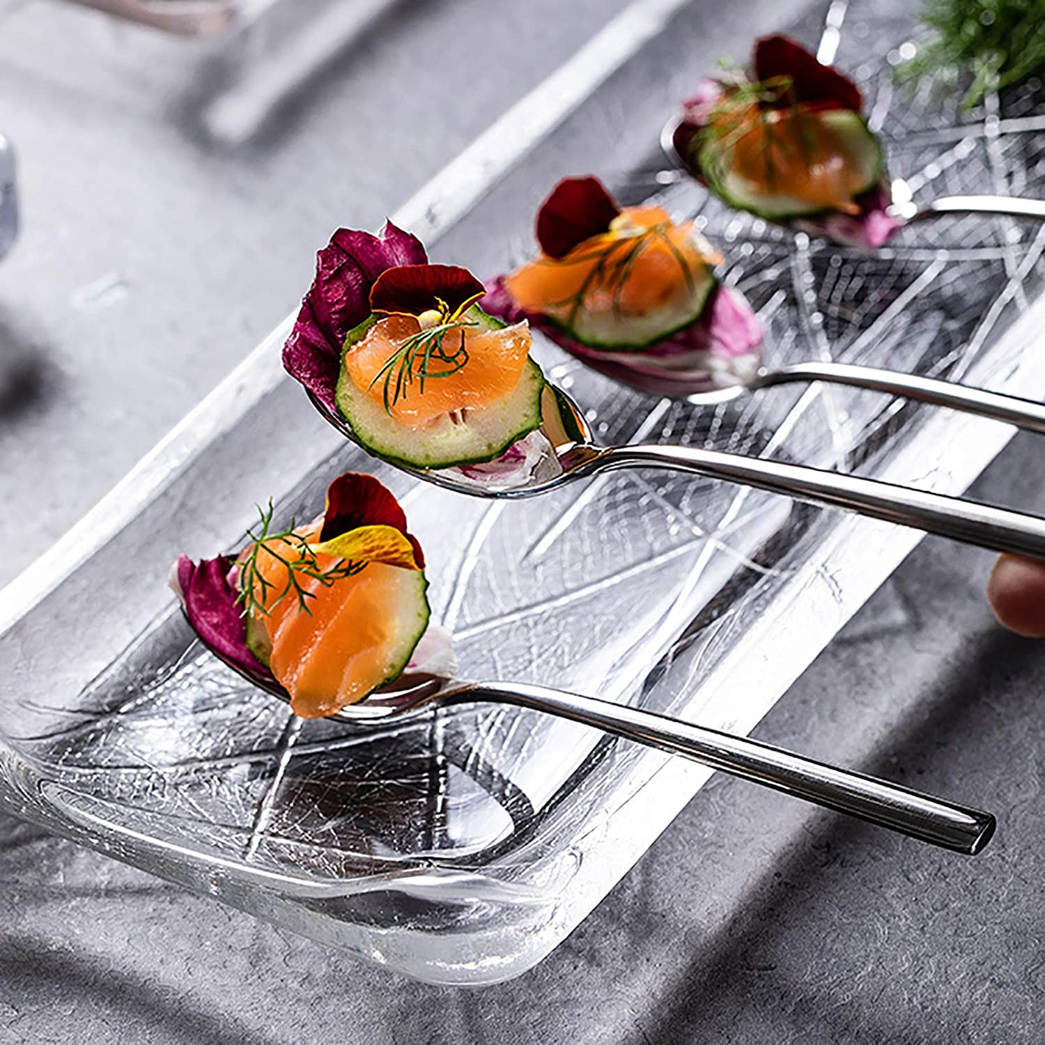 QTQHOME Japanese Style Dallas Mall Sushi Serving Crystal Rectangular Plate G Directly managed store