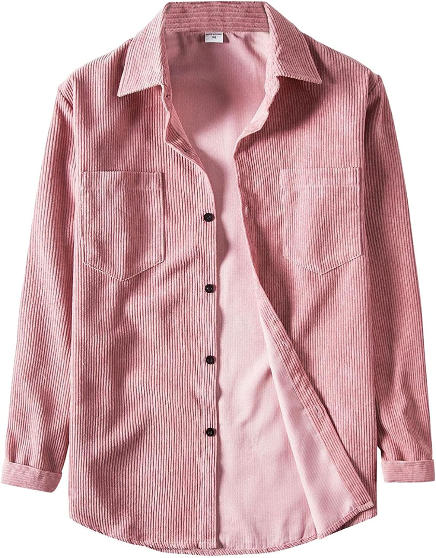 Men's Casual Long Sleeve Jacket Solid Corduroy Tops Pocket Turn-Down Button Boyfriend Collar Blouse