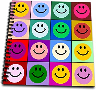 3dRose db_113153_1 Colorful Smiley face Squares Warhol Style-Happy Rainbow Smilies-Bright Multicolored Multicolor-Drawing Book, 8 by 8