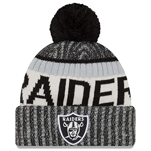 56720051 New Era NFL Onfield Oakland Raiders Bobble Knit Beanie Hat