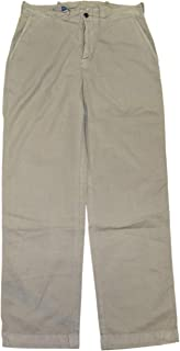 Mens Army Green Pants Flat Front Button Fly Pima Cotton