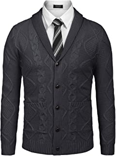 COOFANDY Mens Button up Cardigans Shawl Neck Cardigans Cable Knit Jumpers with Pockets