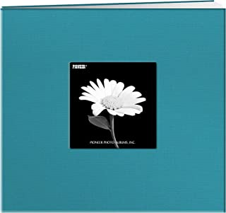 Pioneer 8 Inch by 8 Inch Postbound Fabric Frame Cover Memory Book, Turquoise Blue