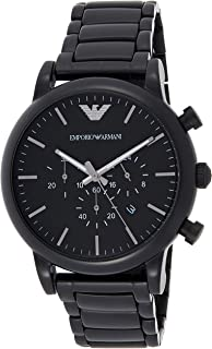 Emporio Armani Men's Black Dial Stainless Steel Band Watch - AR1895