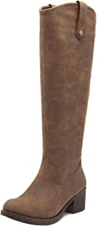 Women's Riding Boots Heeled Knee High Boot with Tall Shaft 6 Dark Brown