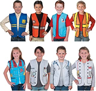Community Helpers Kids Vests (8 Pieces) Farmer, Scientist, Chef, Mail delivery, Construction, Doctor, Police Officer and Firefighter