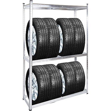 WilTec Rayonnage pour pneus Rack à pneus 8 pneus Support de pneus Atelier Etagère enfichable