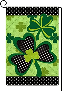 ORTIGIA St. Patrick's Day Shamrocks Garden Flag Burlap Vertical Double Sided 12.5 x 18 Inch Farmhouse Rustic Spring Holida...