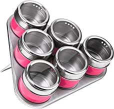 Premier Housewares Magnetic Tray with 6 Spice Jars - Hot Pink