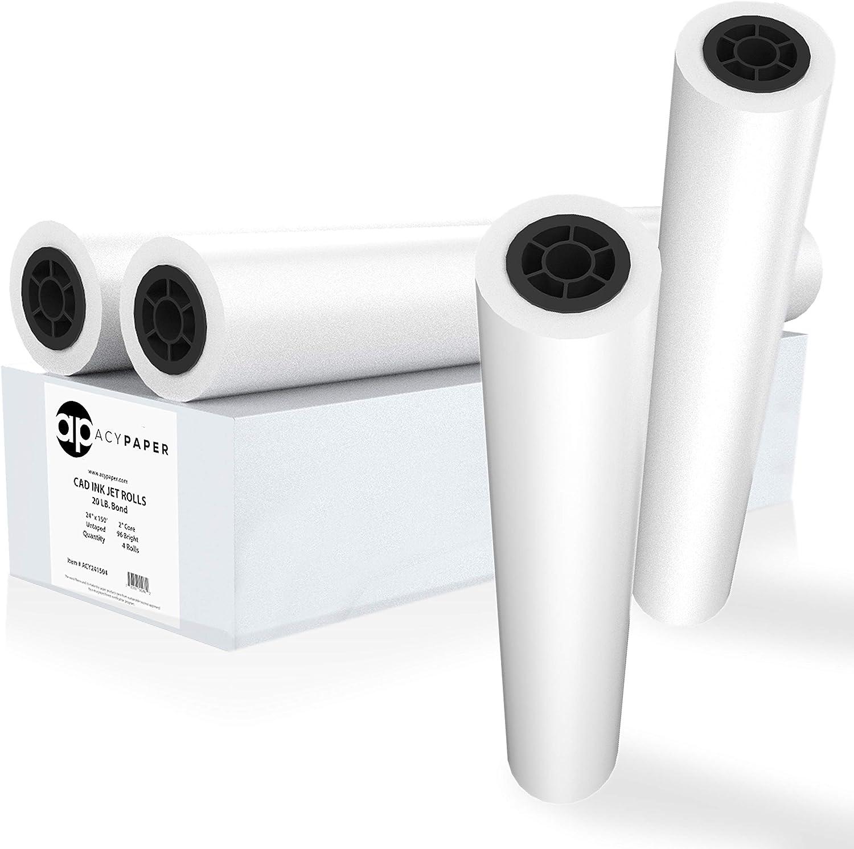 ACYPAPER Plotter Paper 24 x 150 Bond Rolls lb. 20 Rapid rise CAD Seattle Mall Pa