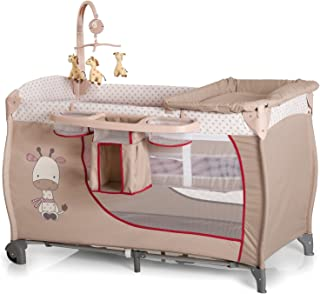 Hauck Baby Centre Travel Cot with Folding Mattress, Giraffe/Beige (Bassinet, Changing Top, Nappy Station and Cot Mobile)