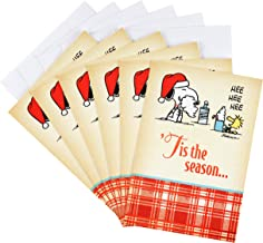Hallmark Peanuts Christmas Cards Pack, Snoopy and Woodstock (6 Cards with Envelopes)