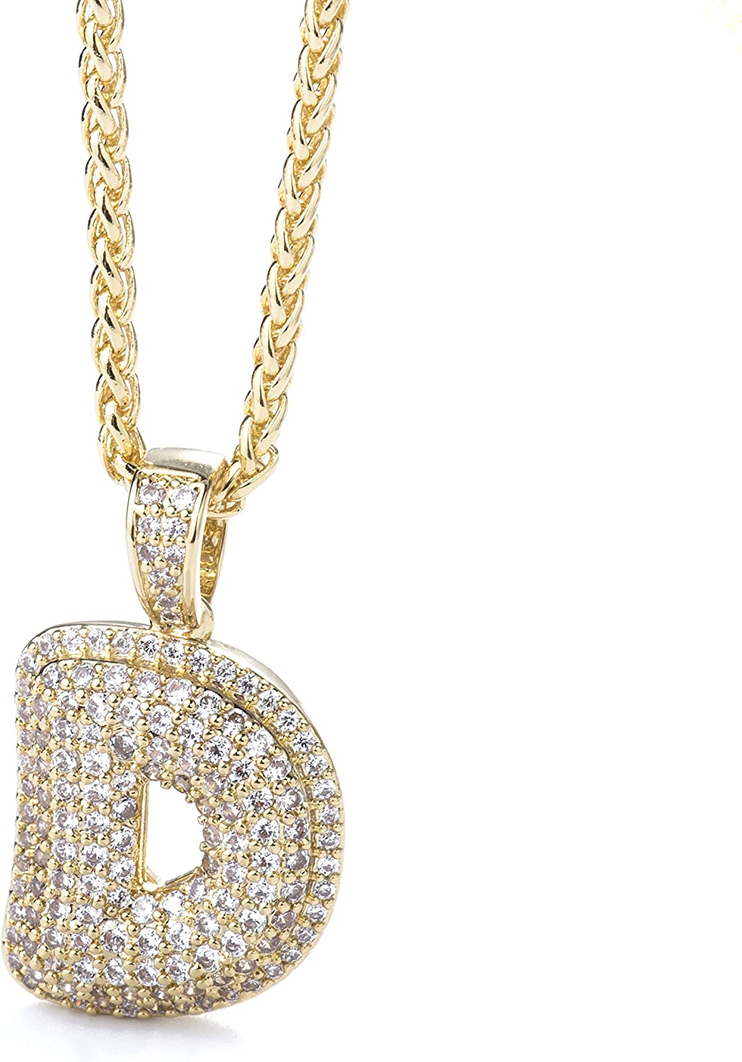 Initial Letter Necklace with Discount mail order Animer and price revision Diamond Chai Gold Out Iced
