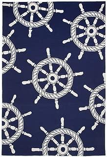 Liora Manne Front Porch Coastal Nautical Ship Wheel Navy Indoor/Outdoor Rug, 3'6