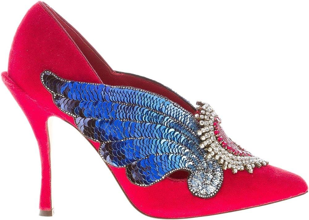 Dolce & gabbana décolleté lori in velluto rosso con maxi gioiello. tacco 10,5 da donna CD1162AV80180303
