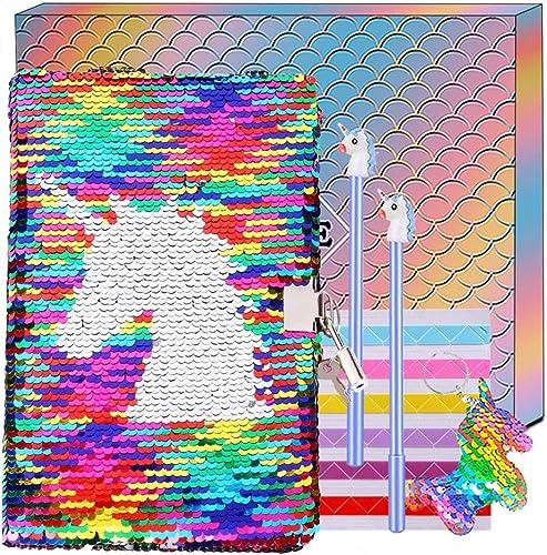 Journal Intime Licorne avec Paillettes, Carnet et Clés A5 Secret Bloc Notes et Stylos Ensemble de Papeterie Cadeau d'...