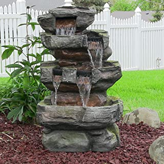 Sunnydaze Electric Outdoor Water Fountain - Stone Waterfall Feature for Yard or Garden - Tiered with LED Lights - 24 Inch Height