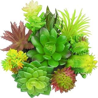 GPARK (Mini Size 10 Pcs Artificial Succulents Pots Plants Fake Assorted Simulation Cactus Cacti DIY Materials Decoration Plastic Green Leaf Faux Aloe 2-4 inch Small (No Cube)