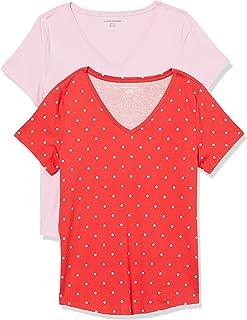 Women's 2-Pack Classic-Fit 100% Cotton Short-Sleeve V-Neck T-Shirt